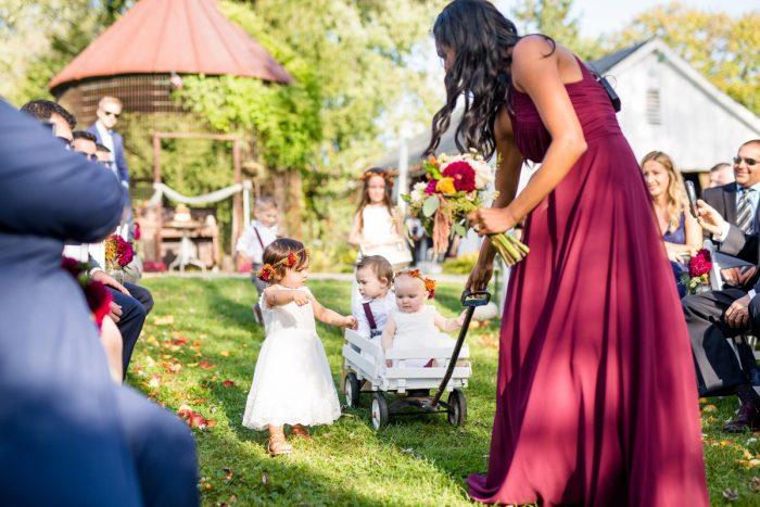 Flower Girl Ring Bearer Wagon: Vivid Fall Wedding at Shady Elms Farm from Jenna Hidinger Photography featured on Burgh Brides