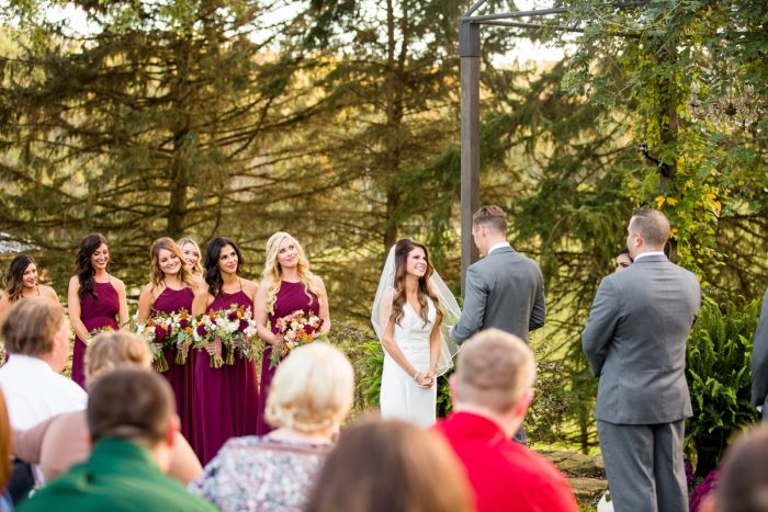 Outdoor Wedding Ceremony: Vivid Fall Wedding at Shady Elms Farm from Jenna Hidinger Photography featured on Burgh Brides