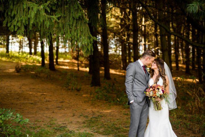 Woodsy Wedding Portraits: Vivid Fall Wedding at Shady Elms Farm from Jenna Hidinger Photography featured on Burgh Brides