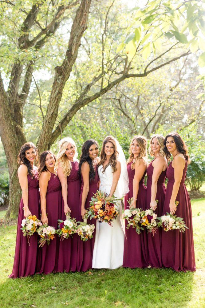 Marsala Bridesmaids Dresses: Vivid Fall Wedding at Shady Elms Farm from Jenna Hidinger Photography featured on Burgh Brides