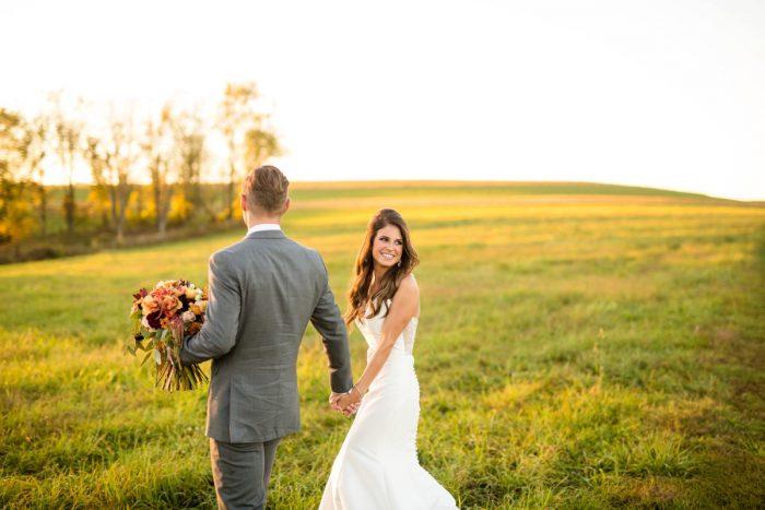 Sunset Wedding Portraits: Vivid Fall Wedding at Shady Elms Farm from Jenna Hidinger Photography featured on Burgh Brides