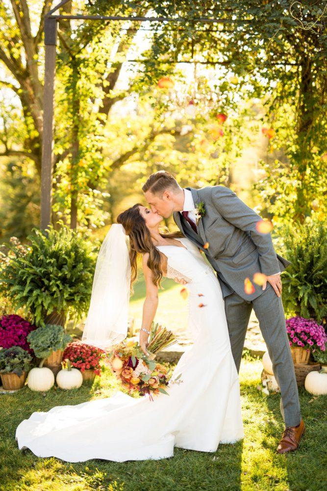 Fall Wedding Portraits: Vivid Fall Wedding at Shady Elms Farm from Jenna Hidinger Photography featured on Burgh Brides