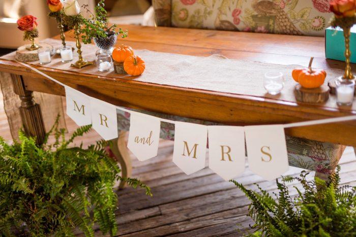 Sweetheart Table Decor: Vivid Fall Wedding at Shady Elms Farm from Jenna Hidinger Photography featured on Burgh Brides