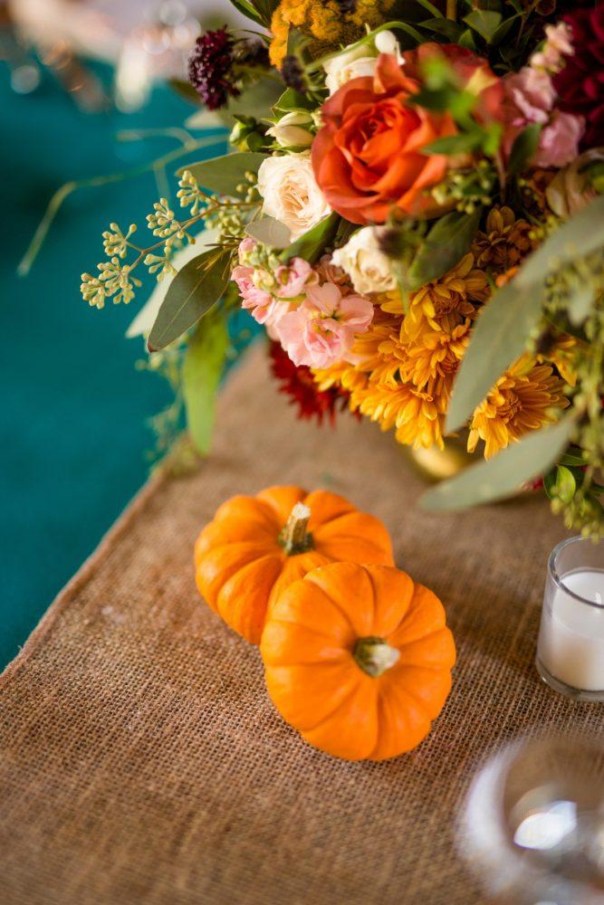 Fall Wedding Decor: Vivid Fall Wedding at Shady Elms Farm from Jenna Hidinger Photography featured on Burgh Brides