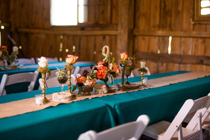 Fall Wedding Tablescape: Vivid Fall Wedding at Shady Elms Farm from Jenna Hidinger Photography featured on Burgh Brides
