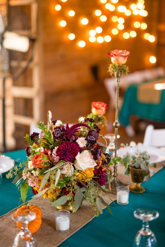 Fall Wedding Flowers: Vivid Fall Wedding at Shady Elms Farm from Jenna Hidinger Photography featured on Burgh Brides