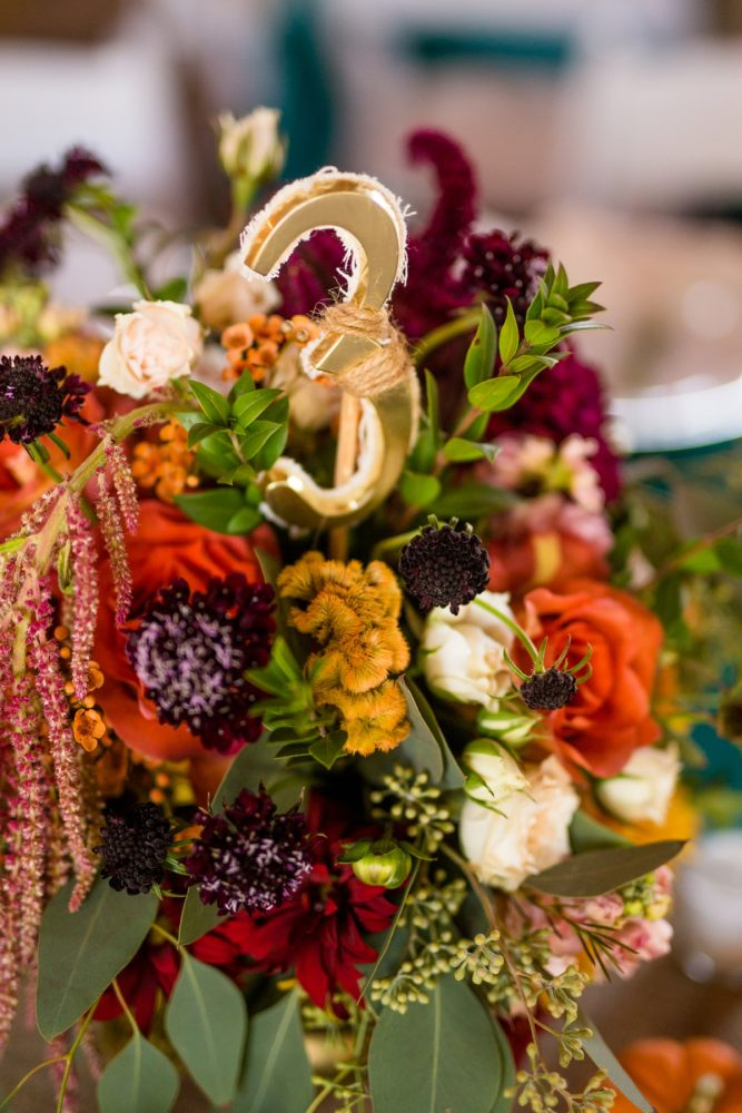 Rustic Wedding Table Numbers: Vivid Fall Wedding at Shady Elms Farm from Jenna Hidinger Photography featured on Burgh Brides