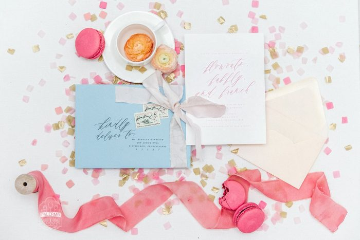Bridal Shower Invitation with Blue Envelope and Pink Confetti: Blowouts, Bubbly, & Brunch Bridal Shower Inspiration from Jessica Garda Events and Palermo Photography featured on Burgh Brides