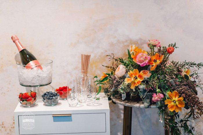 Mimosa Bar Set Up: Blowouts, Bubbly, & Brunch Bridal Shower Inspiration from Jessica Garda Events and Palermo Photography featured on Burgh Brides