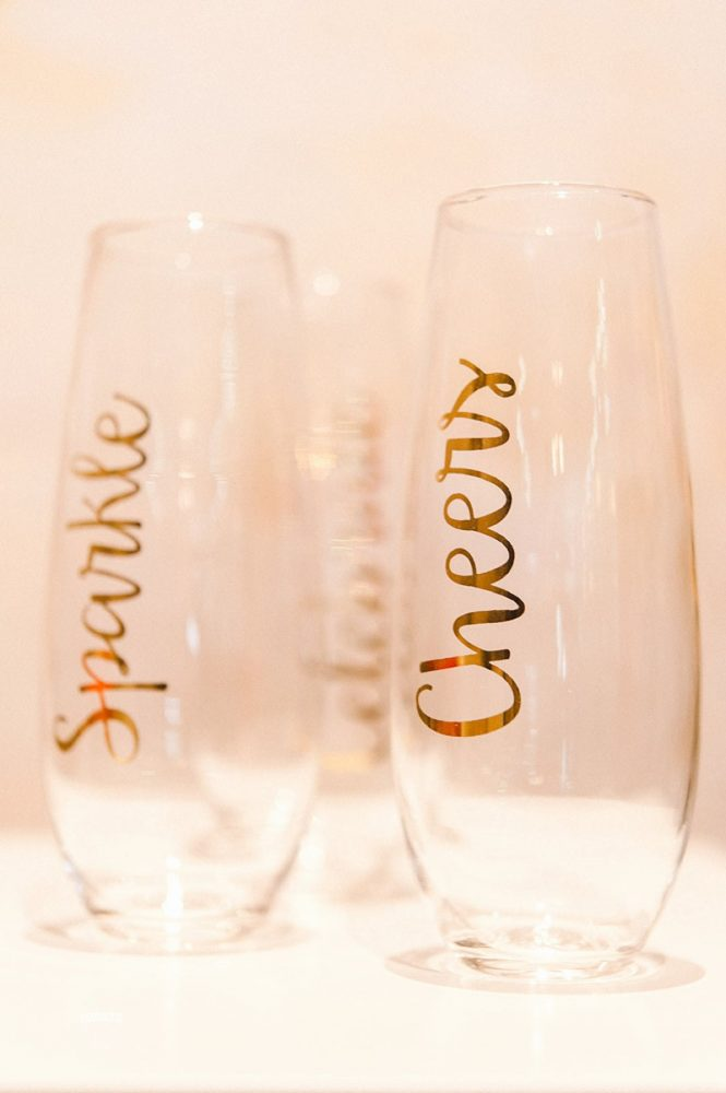 Stemless Champagne Glasses with Gold Calligraphy: Blowouts, Bubbly, & Brunch Bridal Shower Inspiration from Jessica Garda Events and Palermo Photography featured on Burgh Brides