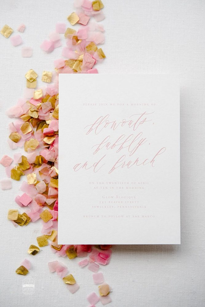 Bridal Shower Invitation with Pink Confetti: Blowouts, Bubbly, & Brunch Bridal Shower Inspiration from Jessica Garda Events and Palermo Photography featured on Burgh Brides