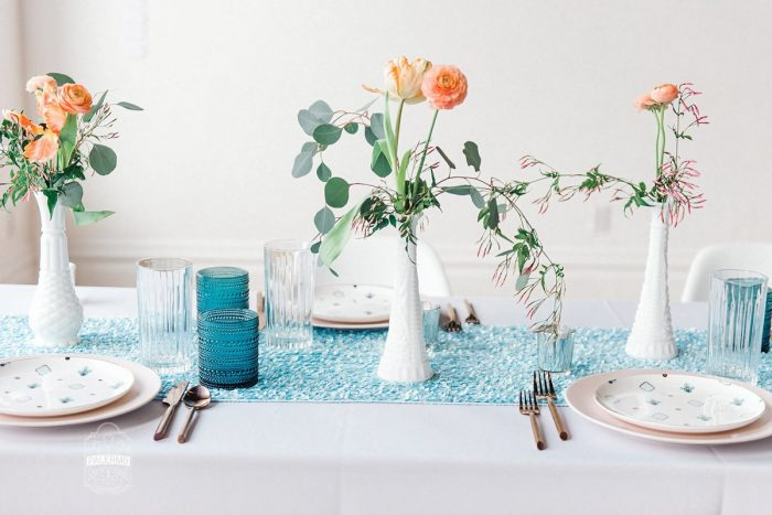 Blue Table Runner Teal Glasses Orange Flowers in White Vase: Blowouts, Bubbly, & Brunch Bridal Shower Inspiration from Jessica Garda Events and Palermo Photography featured on Burgh Brides