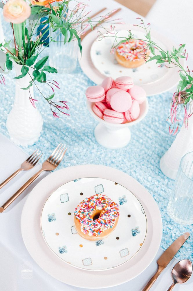 Sprinkled Donut on White Plate Blue Table Runner: Blowouts, Bubbly, & Brunch Bridal Shower Inspiration from Jessica Garda Events and Palermo Photography featured on Burgh Brides