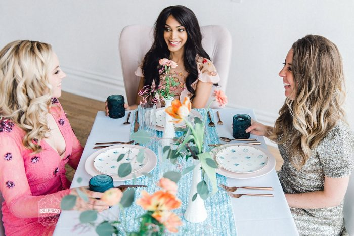 Bridesmaids Laughing at Table: Blowouts, Bubbly, & Brunch Bridal Shower Inspiration from Jessica Garda Events and Palermo Photography featured on Burgh Brides