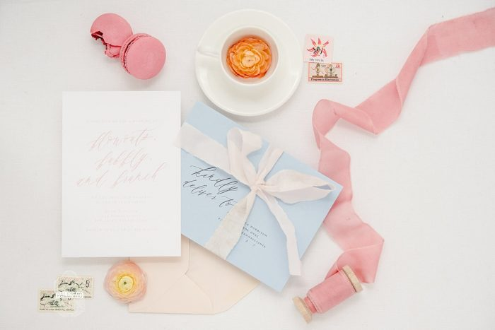 Bridal Shower Invitation Blue Envelope Pink and Ivory Silk Ribbon: Blowouts, Bubbly, & Brunch Bridal Shower Inspiration from Jessica Garda Events and Palermo Photography featured on Burgh Brides