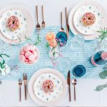 Sprinkled Donuts on White and Teal Plates Blue Table Runner and Glassware: Blowouts, Bubbly, & Brunch Bridal Shower Inspiration from Jessica Garda Events and Palermo Photography featured on Burgh Brides