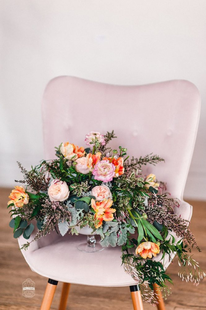 Lush Floral Centerpiece on Pink Chair: Blowouts, Bubbly, & Brunch Bridal Shower Inspiration from Jessica Garda Events and Palermo Photography featured on Burgh Brides
