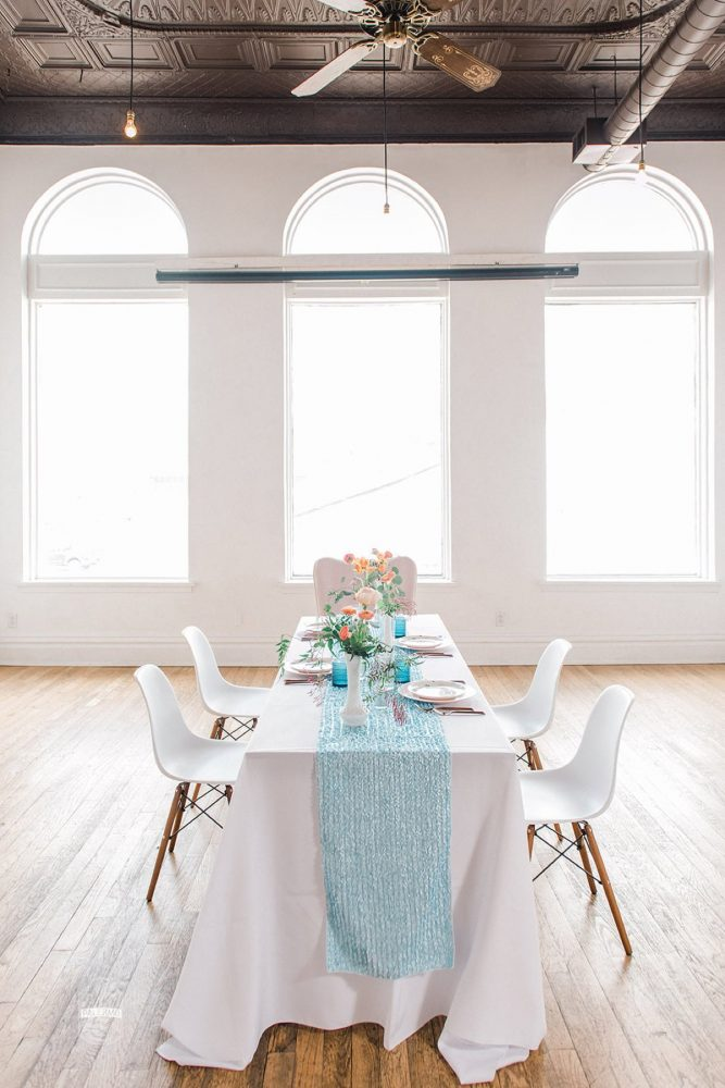 Long Table Set Up with Blue Table Runner: Blowouts, Bubbly, & Brunch Bridal Shower Inspiration from Jessica Garda Events and Palermo Photography featured on Burgh Brides