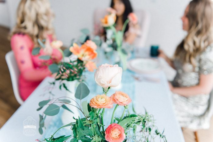 Pink and Orange Flowers White Vases Blue Table Runner: Blowouts, Bubbly, & Brunch Bridal Shower Inspiration from Jessica Garda Events and Palermo Photography featured on Burgh Brides