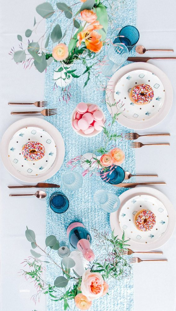 Sprinkled Donuts Blue and Teal Plates Blue Table Runner and Glassware: Blowouts, Bubbly, & Brunch Bridal Shower Inspiration from Jessica Garda Events and Palermo Photography featured on Burgh Brides
