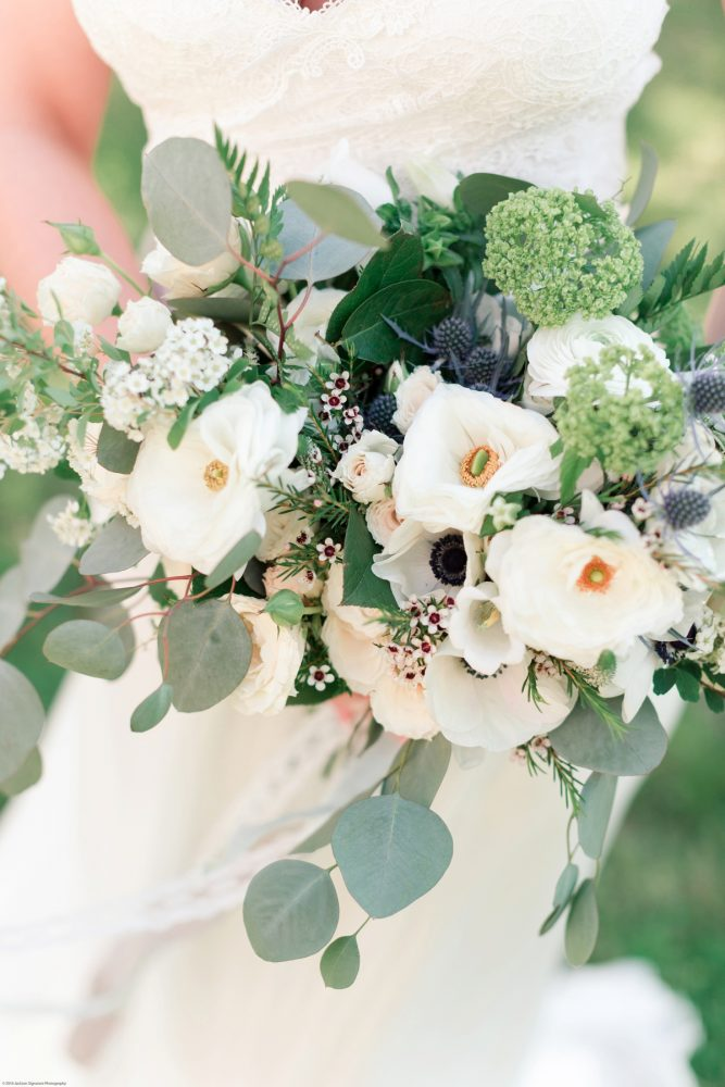 Wedding Bouquet with White Flowers and Greenery: Fresh Garden Party Wedding Inspiration from Jackson Signature Photography & Joy Filled Occasions featured on Burgh Brides