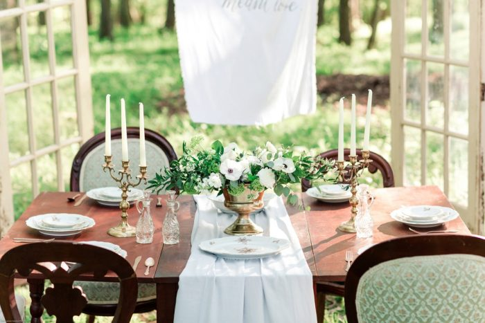 Wooden Table with Vintage Inspired Details: Fresh Garden Party Wedding Inspiration from Jackson Signature Photography & Joy Filled Occasions featured on Burgh Brides