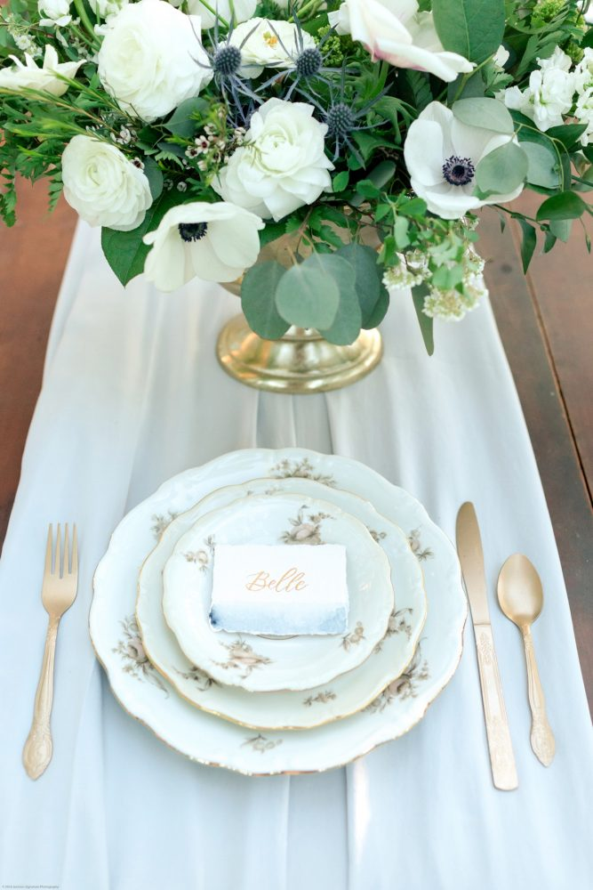 Vintage China and Gold Flatware on Silk Table Runner: Fresh Garden Party Wedding Inspiration from Jackson Signature Photography & Joy Filled Occasions featured on Burgh Brides