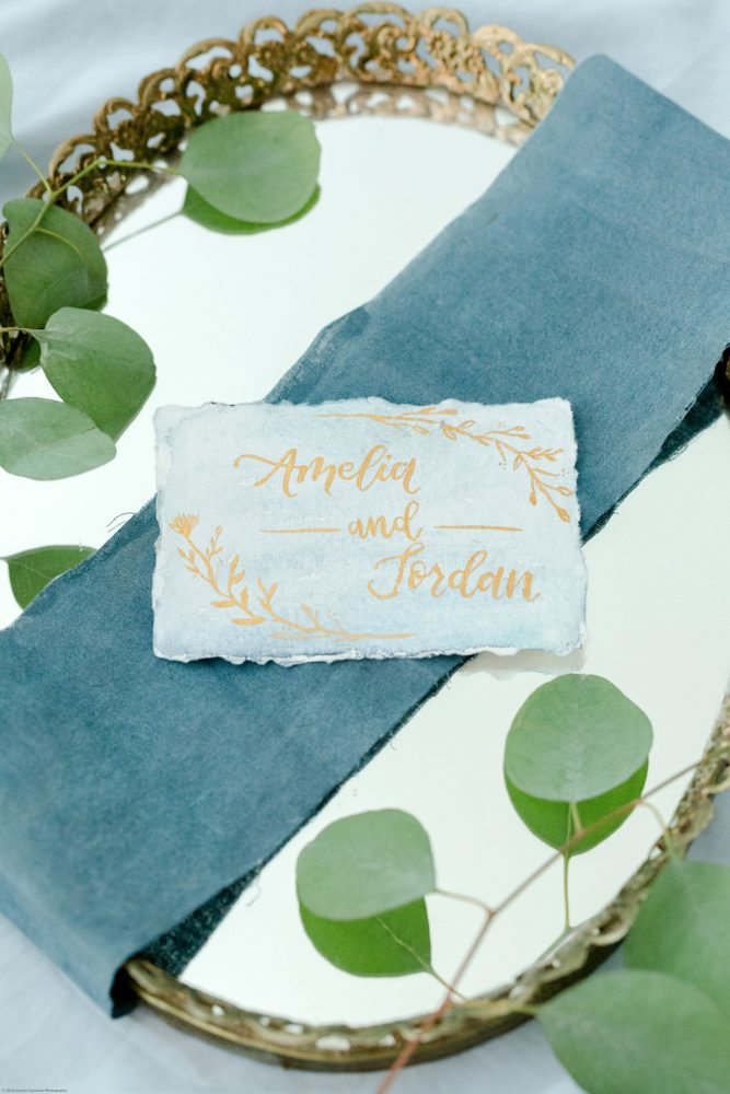Dusty Blue and Gold Hand Lettered Escort Cards: Fresh Garden Party Wedding Inspiration from Jackson Signature Photography & Joy Filled Occasions featured on Burgh Brides