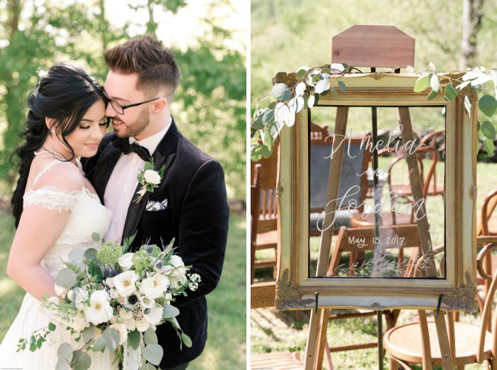 Hand Lettered Mirror Welcome Sign at Wedding: Fresh Garden Party Wedding Inspiration from Jackson Signature Photography & Joy Filled Occasions featured on Burgh Brides