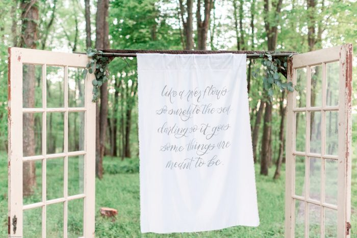 Hand Lettered Cloth Backdrop to Wedding Ceremony: Fresh Garden Party Wedding Inspiration from Jackson Signature Photography & Joy Filled Occasions featured on Burgh Brides