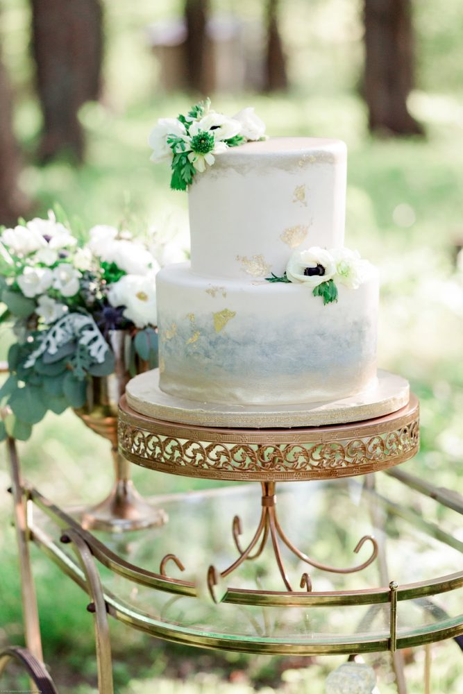 Hand Painted Watercolor Wedding Cake on Gold Cake Stand: Fresh Garden Party Wedding Inspiration from Jackson Signature Photography & Joy Filled Occasions featured on Burgh Brides
