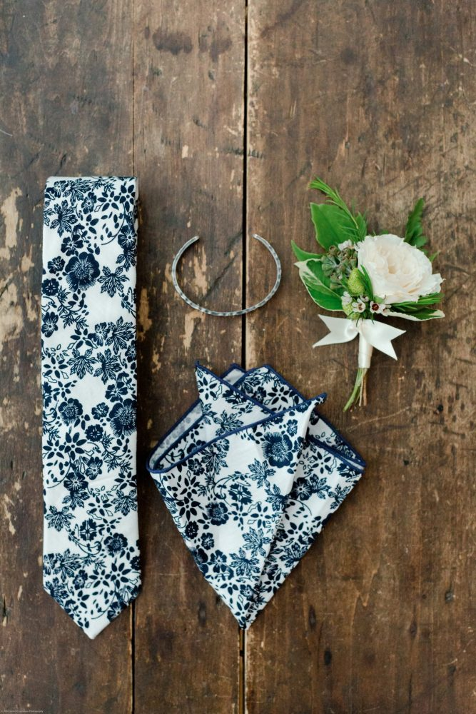 Floral Tie and Pocket Square: Fresh Garden Party Wedding Inspiration from Jackson Signature Photography & Joy Filled Occasions featured on Burgh Brides