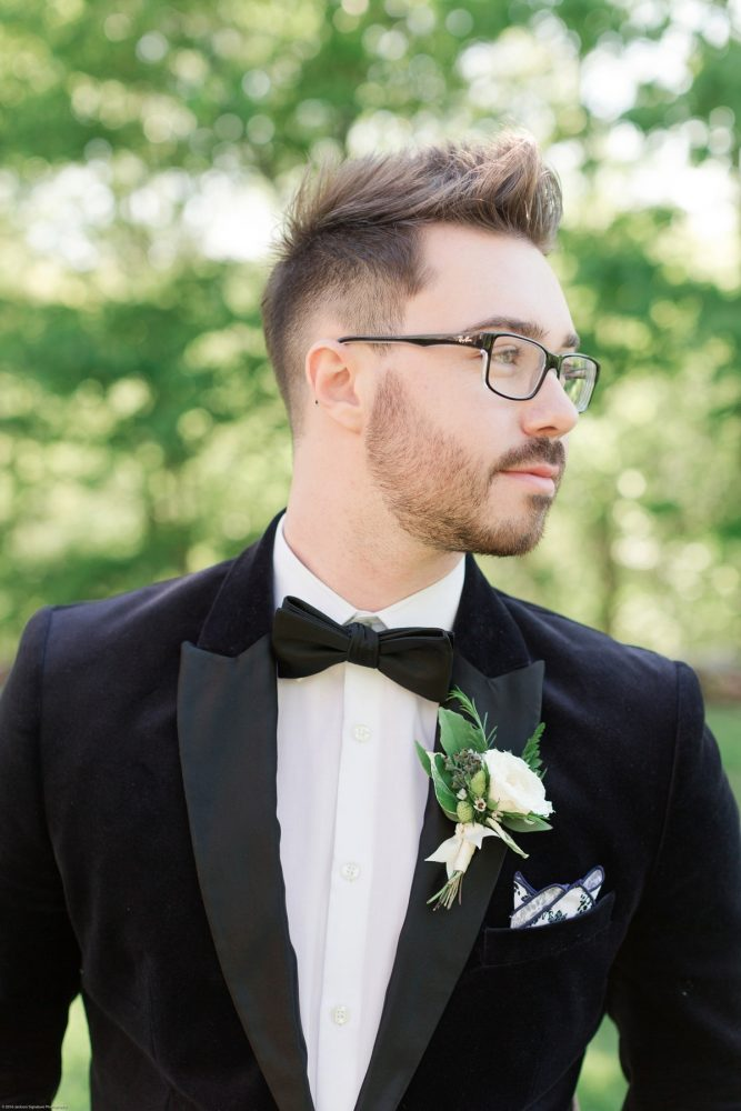 Groom in Tuxedo and Floral Pocket Square: Fresh Garden Party Wedding Inspiration from Jackson Signature Photography & Joy Filled Occasions featured on Burgh Brides