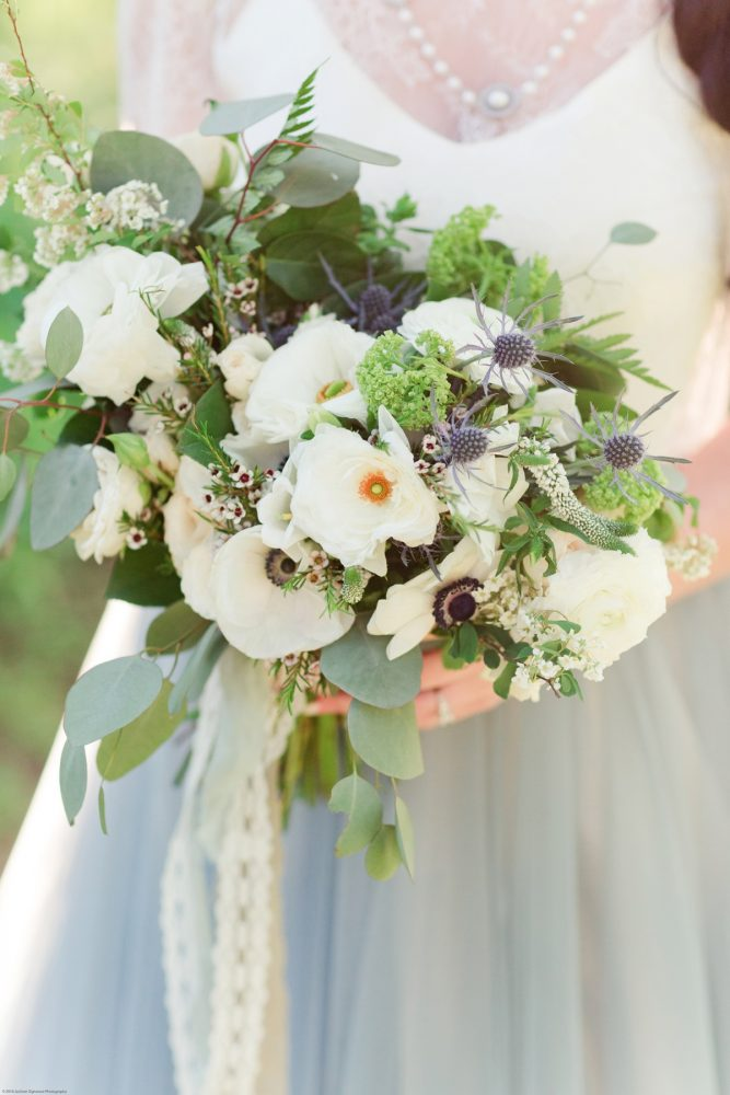 Wedding Bouquet with White Flowers, Blue Thistle and Greenery: Fresh Garden Party Wedding Inspiration from Jackson Signature Photography & Joy Filled Occasions featured on Burgh Brides