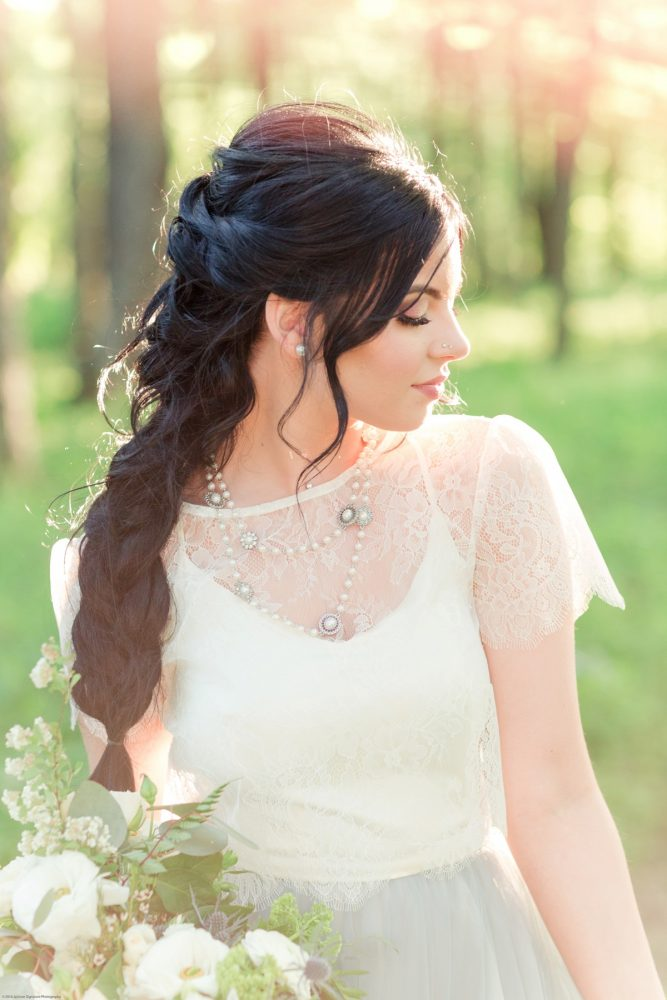 Bride with Long Braided Hair Style: Fresh Garden Party Wedding Inspiration from Jackson Signature Photography & Joy Filled Occasions featured on Burgh Brides
