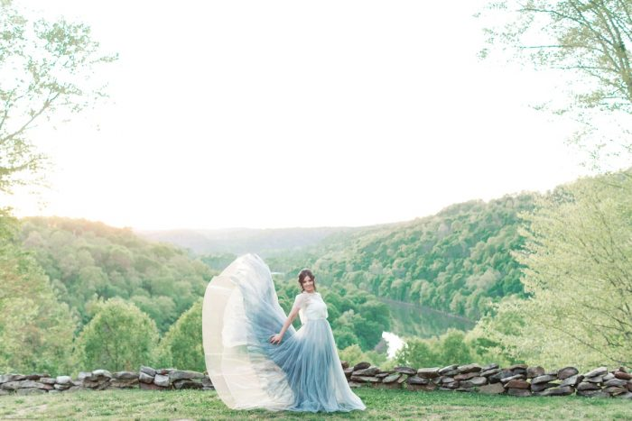 Bride in Dusty Blue Wedding Dress: Fresh Garden Party Wedding Inspiration from Jackson Signature Photography & Joy Filled Occasions featured on Burgh Brides