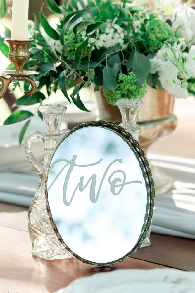 Antique Mirror with Hand Lettered Calligraphy as Wedding Table Number: Fresh Garden Party Wedding Inspiration from Jackson Signature Photography & Joy Filled Occasions featured on Burgh Brides
