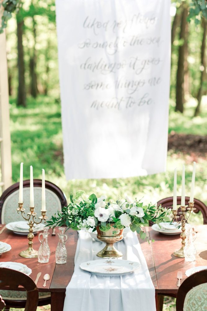 Wooden Table with Vintage China and Gold Candlesticks: Fresh Garden Party Wedding Inspiration from Jackson Signature Photography & Joy Filled Occasions featured on Burgh Brides