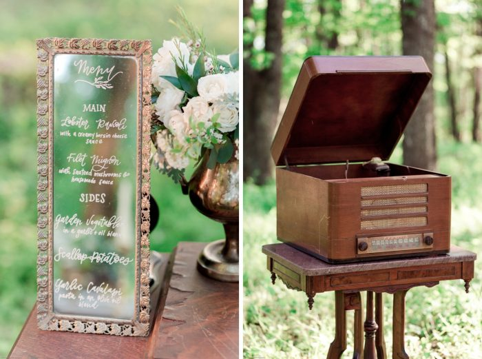 Vintage Mirror and Record Player as Wedding Decor: Fresh Garden Party Wedding Inspiration from Jackson Signature Photography & Joy Filled Occasions featured on Burgh Brides