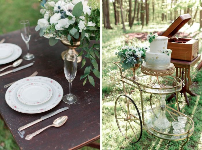 Dusty Blue and Gold Vintage China and Bar Cart as Wedding Decor: Fresh Garden Party Wedding Inspiration from Jackson Signature Photography & Joy Filled Occasions featured on Burgh Brides