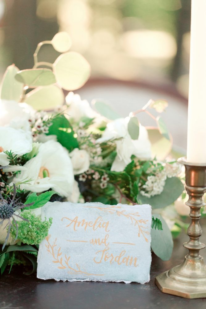Dusty Blue and Gold Calligraphy Wedding Escort Cards: Fresh Garden Party Wedding Inspiration from Jackson Signature Photography & Joy Filled Occasions featured on Burgh Brides