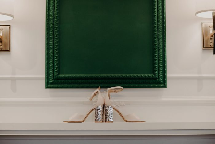 Metallic Silver and Taupe Wedding Shoes: Hip Pink & Blue Rooftop Wedding at Hotel Monaco from Rachel Rowland Photography featured on Burgh Brides