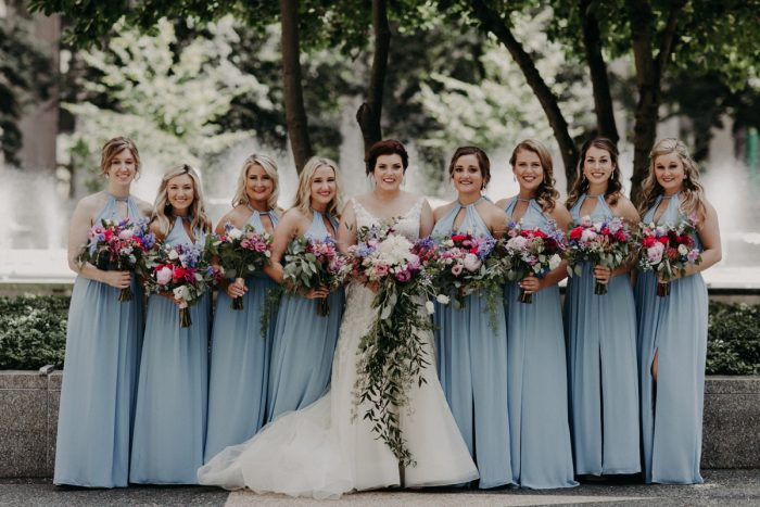 Bridesmaids in Light Blue Dresses with Pink and Purple Bouquets: Hip Pink & Blue Rooftop Wedding at Hotel Monaco from Rachel Rowland Photography featured on Burgh Brides