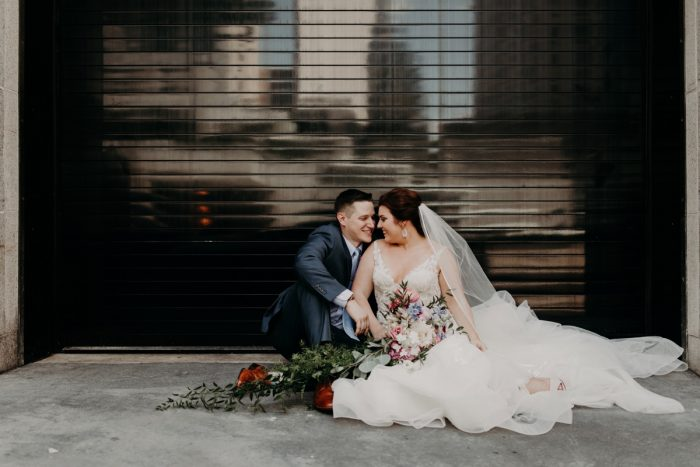 Bride and Groom Portraits Downtown Pittsburgh: Hip Pink & Blue Rooftop Wedding at Hotel Monaco from Rachel Rowland Photography featured on Burgh Brides
