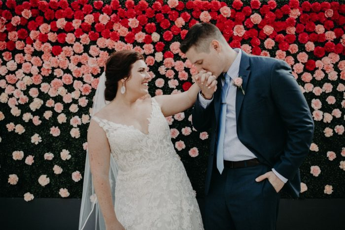 Bride and Groom Portraits Hotel Monaco Boxwood Flower Wall: Hip Pink & Blue Rooftop Wedding at Hotel Monaco from Rachel Rowland Photography featured on Burgh Brides