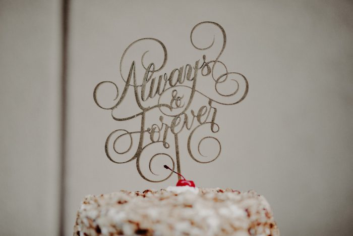Always & Forever Cake Topper: Hip Pink & Blue Rooftop Wedding at Hotel Monaco from Rachel Rowland Photography featured on Burgh Brides