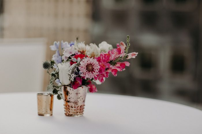Pink and White Flowers Cocktail Table Centerpiece: Hip Pink & Blue Rooftop Wedding at Hotel Monaco from Rachel Rowland Photography featured on Burgh Brides