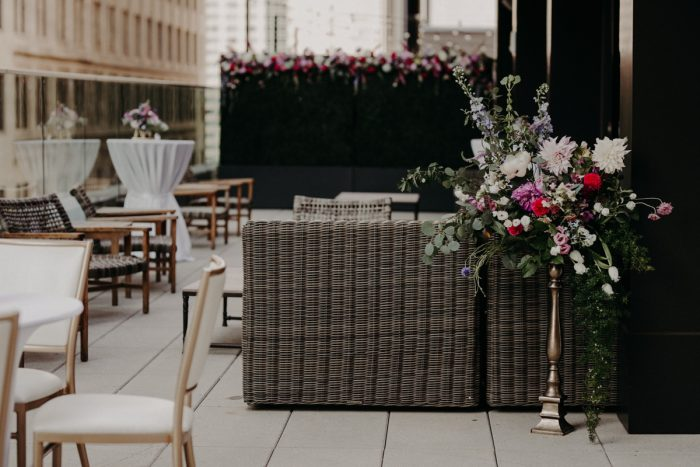 Rooftop Cocktail Style Wedding Set Up: Hip Pink & Blue Rooftop Wedding at Hotel Monaco from Rachel Rowland Photography featured on Burgh Brides