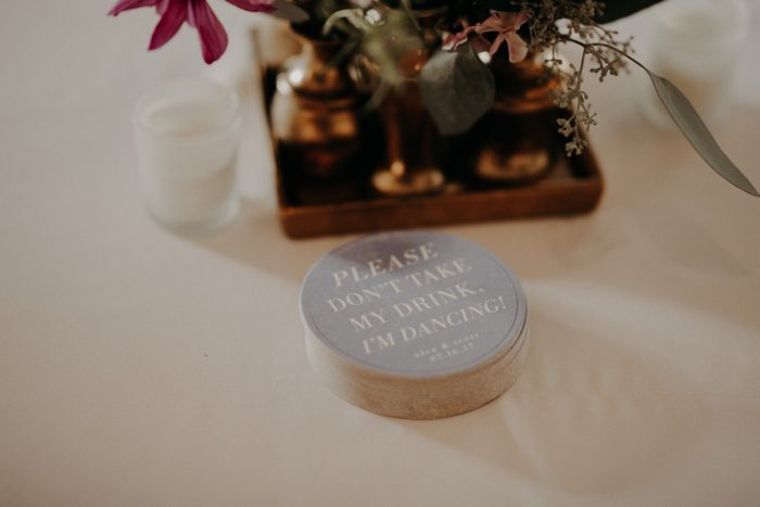 Custom Wedding Coasters: Hip Pink & Blue Rooftop Wedding at Hotel Monaco from Rachel Rowland Photography featured on Burgh Brides