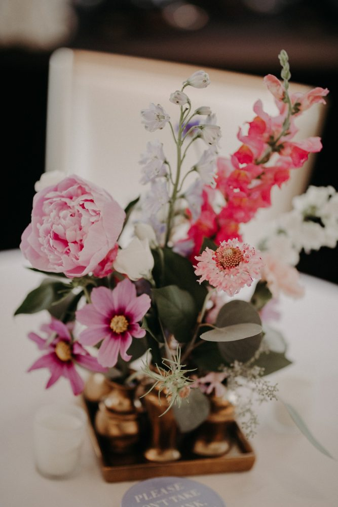 Pink and White Wedding Centerpiece in Gold Vase: Hip Pink & Blue Rooftop Wedding at Hotel Monaco from Rachel Rowland Photography featured on Burgh Brides